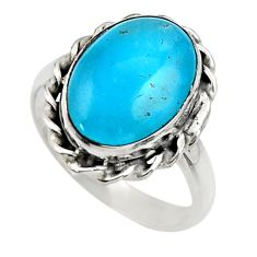 6.61cts blue smithsonite 925 sterling silver solitaire ring size 9 r28483