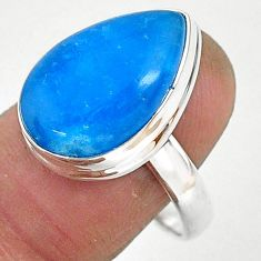 11.64cts blue smithsonite 925 sterling silver solitaire ring size 9 r95526