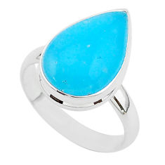 8.86cts blue smithsonite 925 sterling silver solitaire ring size 9 r95762