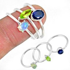 Blue topaz iolite ethiopian opal 925 silver 3 stackable ring size 7.5 r59932