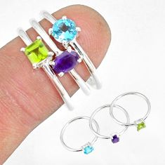 2.81cts blue topaz peridot amethyst 925 silver stackable ring size 6.5 r79854