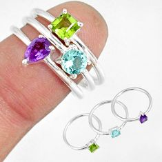 2.98cts blue topaz peridot amethyst 925 silver stackable ring size 6.5 r79856