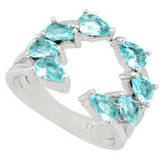 4.06cts blue topaz quartz 925 sterling silver adjustable ring size 5.5 c9145