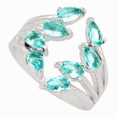4.07cts blue topaz quartz 925 sterling silver adjustable ring size 7 c9096