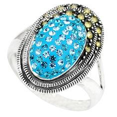 Blue topaz quartz marcasite 925 sterling silver ring size 6.5 c16340