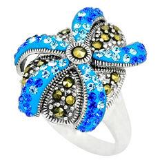Blue topaz quartz marcasite 925 sterling silver ring size 5.5 c16185
