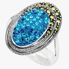 Blue topaz quartz marcasite 925 sterling silver ring size 6.5 c16336