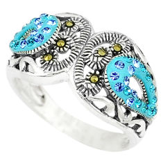 Blue topaz quartz marcasite enamel 925 silver ring jewelry size 6.5 c16115