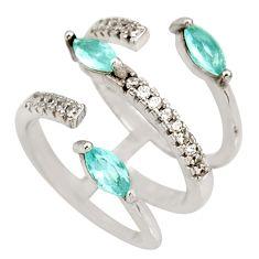 2.98cts blue topaz quartz topaz 925 silver adjustable ring size 5.5 c10314