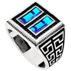 Blue topaz quartz topaz 925 sterling silver mens ring size 9.5 c11404