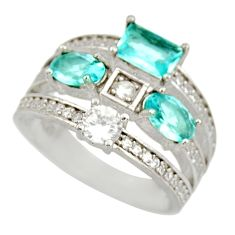 4.38cts blue topaz quartz topaz 925 sterling silver ring jewelry size 6.5 c9135