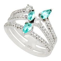 3.28cts blue topaz quartz topaz 925 sterling silver ring jewelry size 7.5 c9138