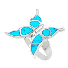 5.26gms blue turquoise enamel 925 silver butterfly ring size 8 a88513 c13515