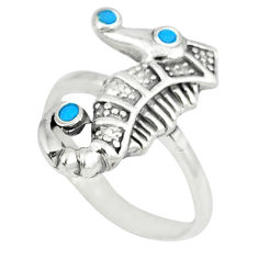 5.02gms blue turquoise enamel 925 silver seahorse ring size 7.5 a46385 c13489