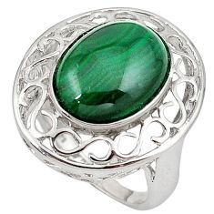 Bold green malachite (pilot's stone) 925 silver ring jewelry size 6.5 c23686