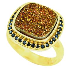 Bronze druzy black spinal 925 sterling silver 14k gold ring size 7 c22941