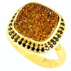 Bronze druzy black spinal 925 sterling silver 14k gold ring size 8 c22942