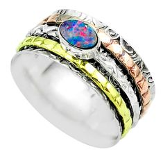 Brown doublet opal australian silver two tone spinner band ring size 8.5 t51674
