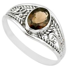 1.41cts brown smoky topaz 925 silver graduation handmade ring size 7 t9274
