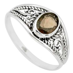 1.42cts brown smoky topaz 925 silver graduation handmade ring size 9 t9265