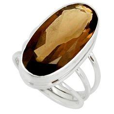 16.59cts brown smoky topaz 925 sterling silver ring jewelry size 8.5 r42132
