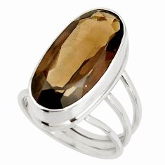 17.62cts brown smoky topaz 925 sterling silver ring jewelry size 8.5 r42133