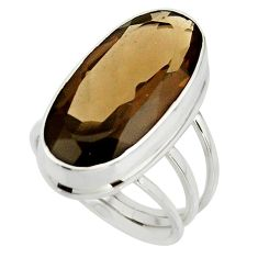 17.07cts brown smoky topaz 925 sterling silver ring jewelry size 8.5 r42134