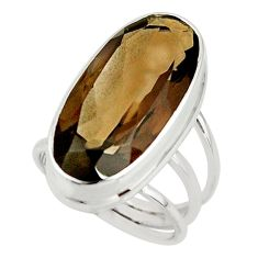 17.07cts brown smoky topaz 925 sterling silver ring jewelry size 6.5 r42137
