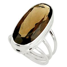 17.05cts brown smoky topaz 925 sterling silver ring jewelry size 8.5 r42139
