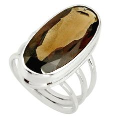 16.26cts brown smoky topaz 925 sterling silver ring jewelry size 7.5 r42140
