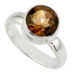 3.32cts brown smoky topaz 925 sterling silver ring jewelry size 5.5 r42675