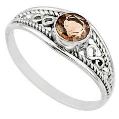 0.76cts cut smoky topaz 925 silver graduation handmade ring size 6 t9726