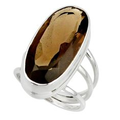 16.74cts brown smoky topaz 925 sterling silver ring jewelry size 7 r42127