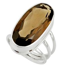 17.20cts brown smoky topaz 925 sterling silver ring jewelry size 8 r42128