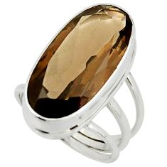 16.70cts brown smoky topaz 925 sterling silver ring jewelry size 8 r42135