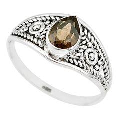 1.42cts cut smoky topaz 925 silver graduation handmade ring size 8 t9490