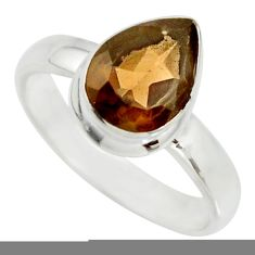 2.69cts brown smoky topaz 925 sterling silver solitaire ring size 6.5 r26362