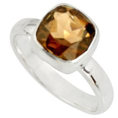 3.01cts brown smoky topaz 925 sterling silver solitaire ring size 6.5 r26369