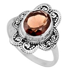 4.08cts brown smoky topaz 925 sterling silver solitaire ring size 7.5 r54483