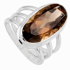 7.76cts brown smoky topaz 925 sterling silver solitaire ring size 6.5 r55991