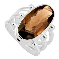 8.24cts brown smoky topaz 925 sterling silver solitaire ring size 6.5 r55994