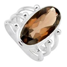 8.42cts brown smoky topaz 925 sterling silver solitaire ring size 7.5 r55997