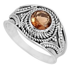 1.16cts brown smoky topaz 925 sterling silver solitaire ring size 7.5 r57981