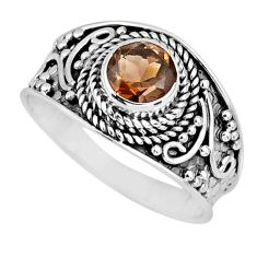 1.30cts brown smoky topaz 925 sterling silver solitaire ring size 8.5 r57986