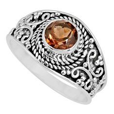 1.30cts brown smoky topaz 925 sterling silver solitaire ring size 8.5 r57990