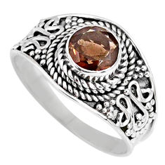 1.45cts brown smoky topaz 925 sterling silver solitaire ring size 7.5 r58577