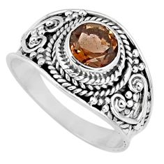 1.45cts brown smoky topaz 925 sterling silver solitaire ring size 6.5 r58581