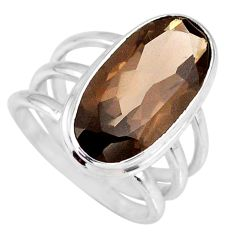 8.14cts brown smoky topaz 925 sterling silver solitaire ring size 6.5 r58671