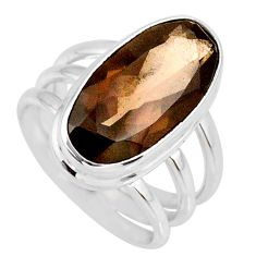 8.42cts brown smoky topaz 925 sterling silver solitaire ring size 6.5 r58679