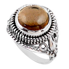 5.31cts brown smoky topaz 925 sterling silver solitaire ring size 6 r54590